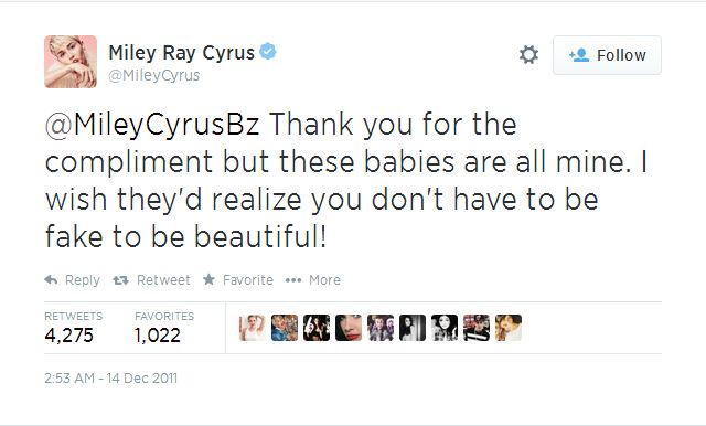 miley cyrus tweet boobs are reali