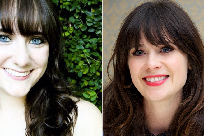 zooey-deschanel 10 Celebrities Look Alike - Doppelgangers