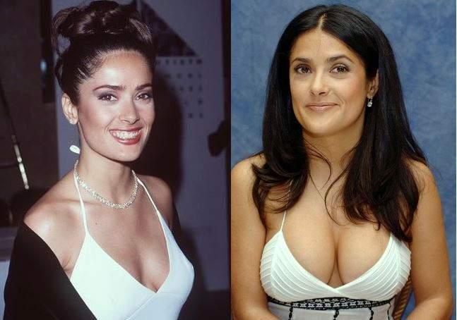 salma hayek plastic surgery, salma hayek before after photos, breast implants, breast augmentation, salma hayek photos, cosmetic surgery, nose job, rhinoplasty0